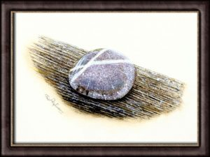 Watercolor painting of a stone by Paul Hopkinson framed