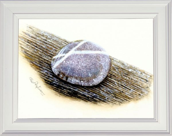 Watercolour stone painting framed