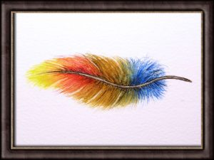 Watercolor video tutorial feather painting