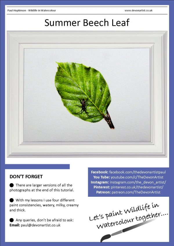 Watercolour leaf painting PDF tutorial
