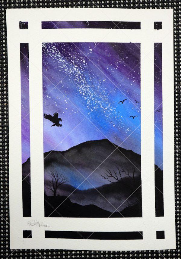Galaxy watercolour original painting artwork