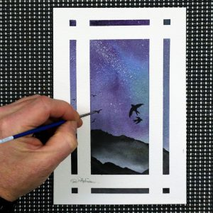 Paul Hopkinson painting a galaxy in a starry sky, a watercolour original