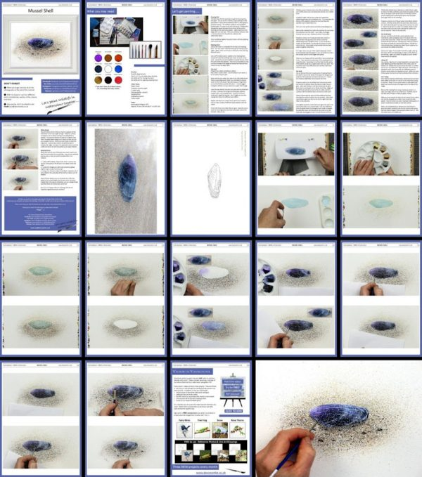 Watercolor lessons, a shell painting PDF overview
