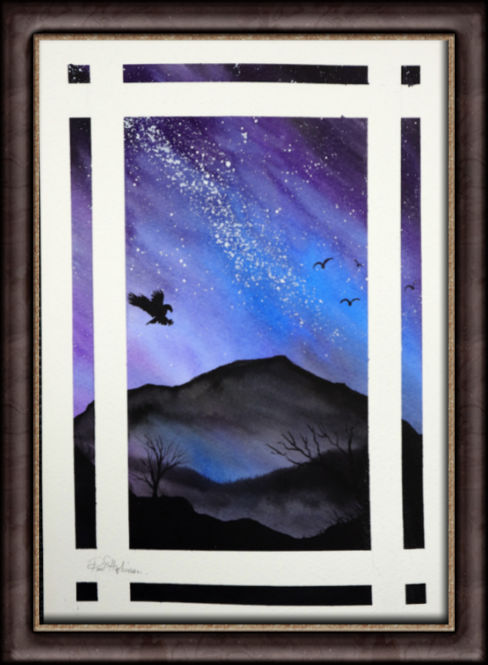 Watercolor painting of a galaxy by Paul Hopkinson, framed