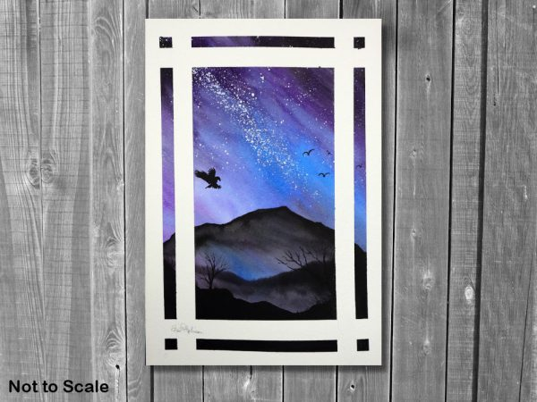 Watercolor painting of the night sky by Paul Hopkinson, displayed on a wall