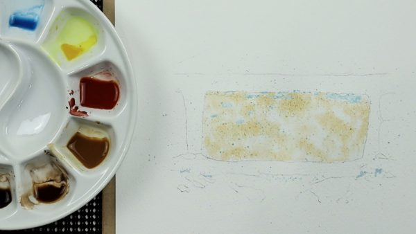 How to paint a realistic brick in watercolour stage 1