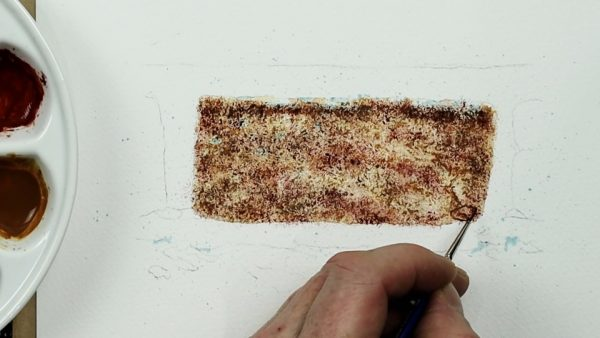 How to paint a realistic brick in watercolour stage 2