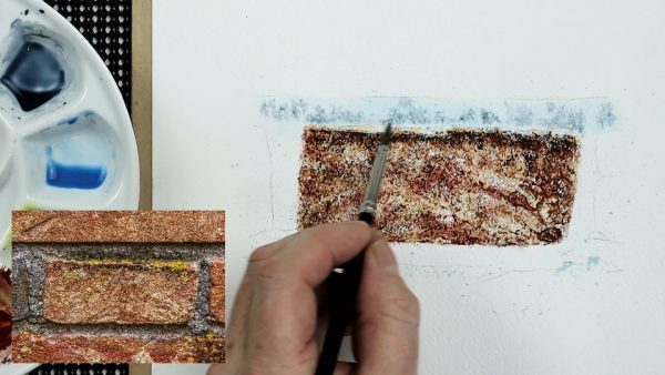 How to paint a realistic brick in watercolour stage 3