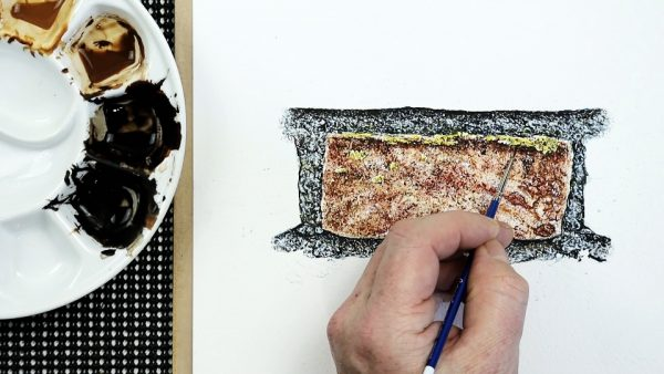 How to paint a realistic brick in watercolour stage 4