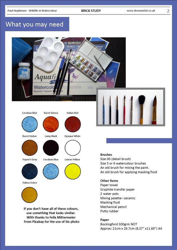 Materials needed to paint a brick in watercolour