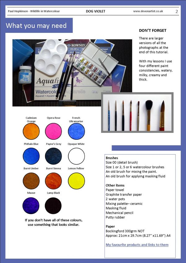 Materials needed for a violet watercolor painting