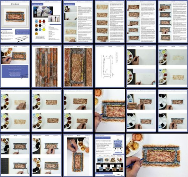 Overview image of a pdf watercolour tutorial on painting a realistic brick