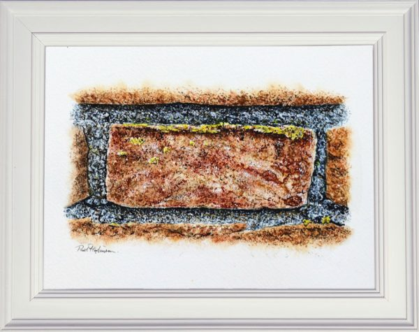 A watercolour brick painting in a white frame