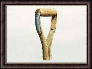Original watercolor painting of an old spade by Paul Hopkinson