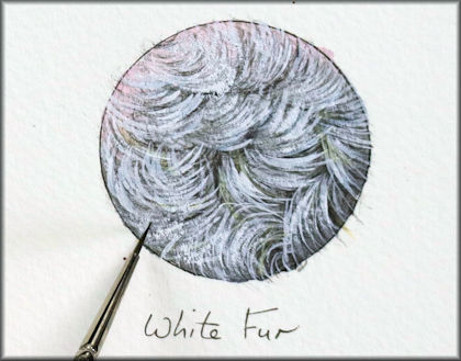 Button link to a white fur watercolor video tutorial